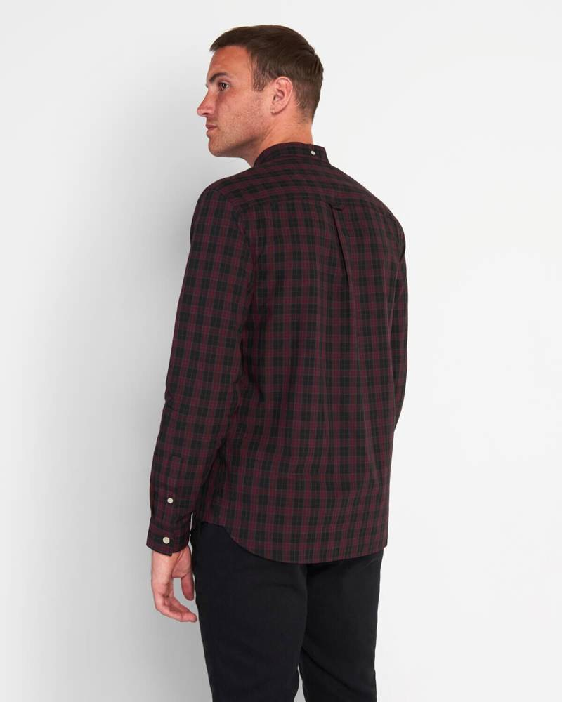 LYLE&SCOTT CHECK POPLIN SHIRT JET BLACK/BURGUNDY CHECK