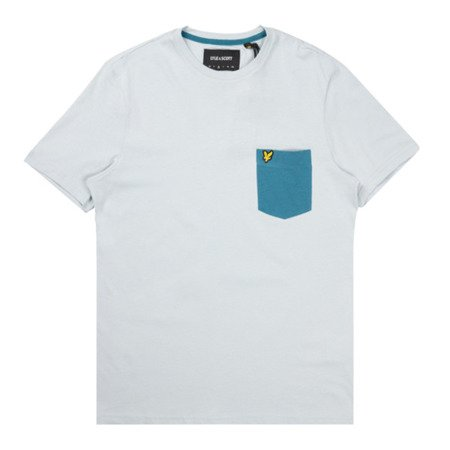 LYLE&SCOTT CONTRAST POCKET T-SHIRT WHITE/PETROL TEAL