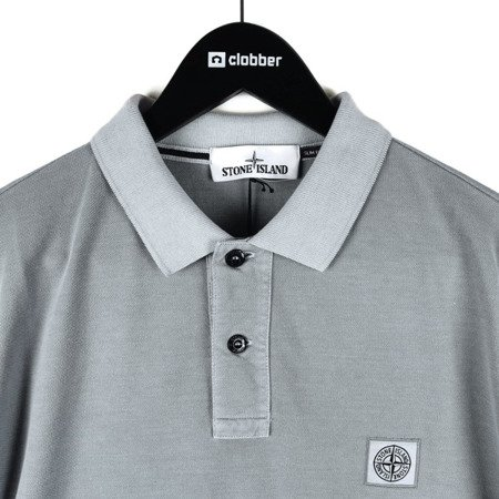 STONE ISLAND PIGMENT DYE TREATMENT POLO LIGHT GREY